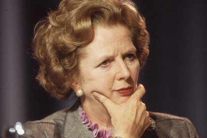 October 1985: British prime minister Margaret Thatcher looking pensive at the Conservative Party Conference in Blackpool. (Photo by Hulton Archive/Getty Images)