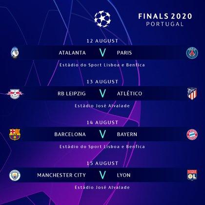 Los cruces de cuartos de final serán a partido único