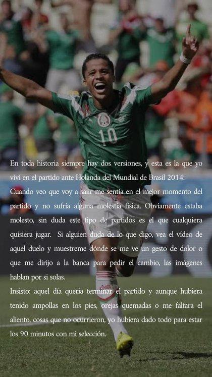 Comunicado de Dos Santos en su cuenta de Twitter (Foto: Twitter @DosSantos)
