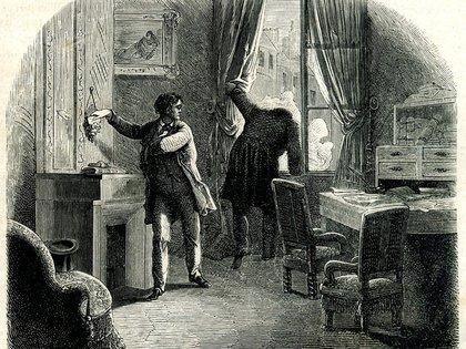 """Ilustración de Auguste Dupin en la edición de """"La carta robada"""" de 1844"""