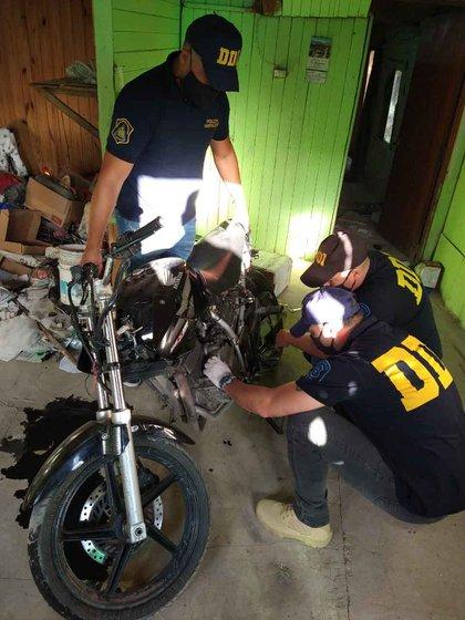 La moto secuestrada en Villa Elvira.