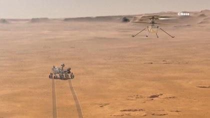 El helicóptero Ingenuity pesa menos de 2 kilos