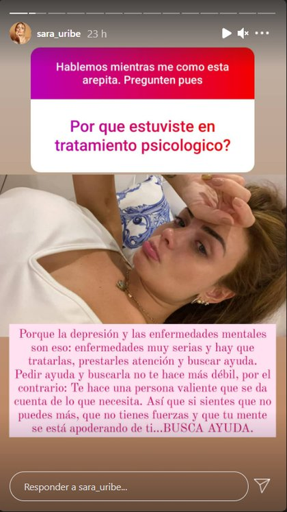V3OF4IKWIVGGVL3GZZ3XMY3DLM - Sara Uribe revealed why she had to attend psychological therapy