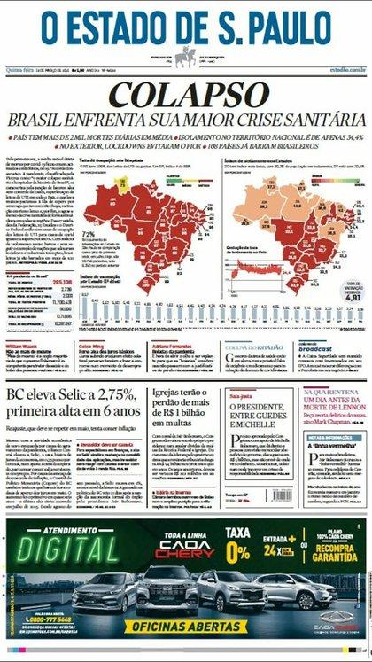 La portada del diario Estadao da cuenta del colapso sanitario en Brasil