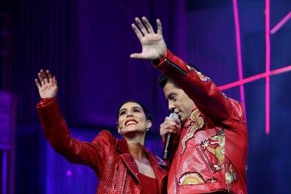 María León y Yahir durante presentación del musical Hoy no me puedo levantar. Ciudad de México, abril 26, 2021. Foto: Karina Hernández / Infobae