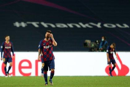 Messi durante el partido de los cuartos de final de la Liga de Campeones de la pasada temporada frente al Bayern Múnich. EFE/EPA/TIAGO PETINGA)