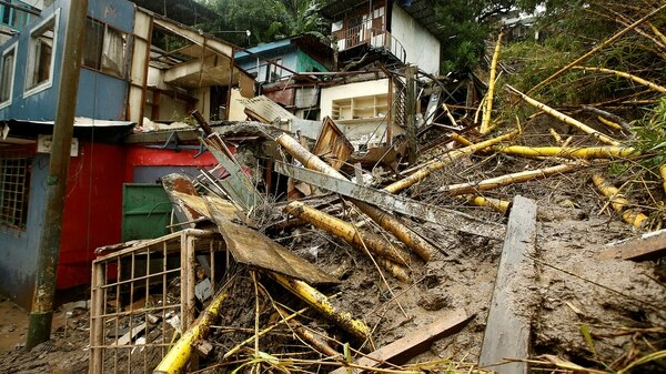 Una casa destruida tras el paso de la tormenta tropical Nate, en San José, Costa Rica (Reuters)