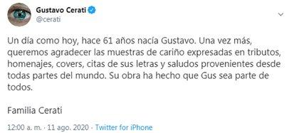El mensaje de la familia de Gustavo Cerati el día que el músico hubiera cumplido 61 años