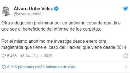 Respuesta de Uribe a la investigación preliminar de la Corte Suprema