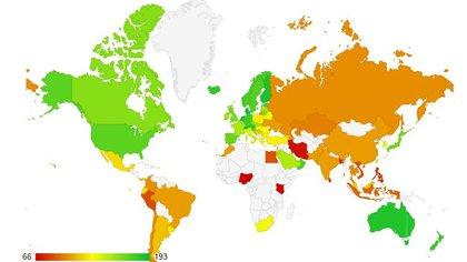 """Un mapa de color en función del """"Índice de Calidad de Vida"""" de Numbeo, puntuado entre un mínimo de 66 y un máximo de 193 puntos.  En la última medición por países, la Argentina figuró en el lugar 55 sobre 82 países, encabezando el último tercio del listado"""