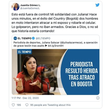 Solidaridad con las víctimas e indignación por salirse de control, expresó la periodista de Noticias Caracol, Juanita Gómez, sobre la inseguridad y delincuencia en Bogotá / (Twitter: @JuanitaGomezL).