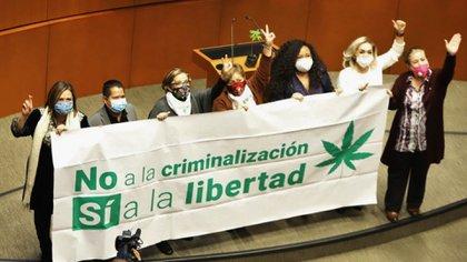 """Las senadoras subieron a la tribuna a festejar con una manta que rezaba: """"No a la criminalización. Sí a la libertad""""(Foto: Cuartoscuro)"""