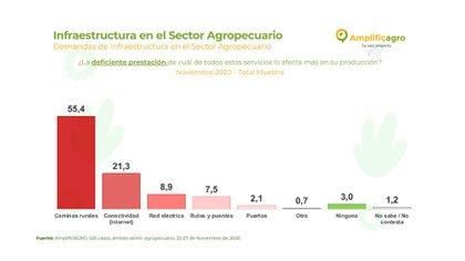 El campo reclama una mejor infraestructura, donde la mejora de los caminos rurales y la conectividad en las zonas rurales son los principales problemas actuales