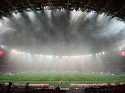 La imagen que el club brasileño mostró en las redes en la previa al cotejo en Brasil