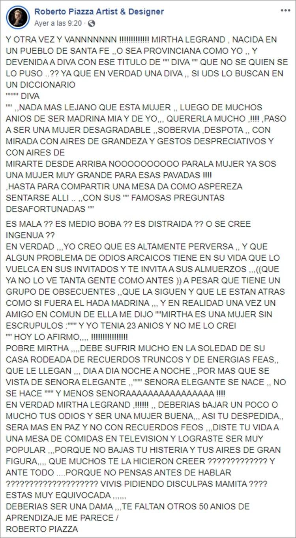 El posteo de Roberto Piazza en Facebook