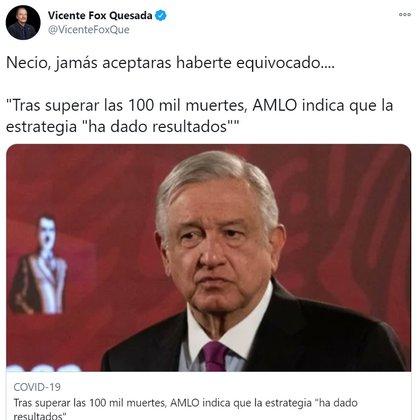 Vicente Fox se refirió al asunto de los cien mil muertos por COVID en México