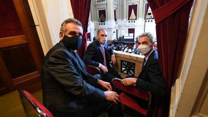 Guzmán, Rossi y Meoni en uno de los palcos. Los ministros estuvieron en la Cámara de Diputados