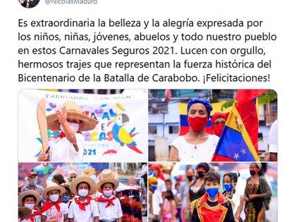 El tuit de Maduro (@NicolasMaduro)