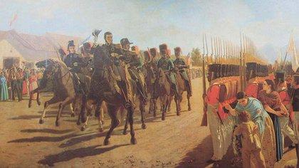 San Martín pasando revista al Ejército de Los Andes