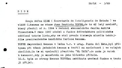 Información que manejaba la inteligencia checa sobre la designación de Yofre como jefe de la SIDE