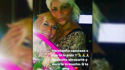 Gladys La Bomba Tucumana le pide a sus seguidores que recen por la salud de su hermana, Olga Jiménez, internada por coronavirus (Foto: Instagram @gladyslabomba18)