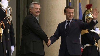 Alberto Fernández y Emmanuel Macron durante su encuentro en París