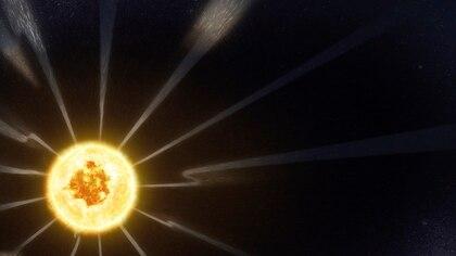 Esta imagen, tomada de un video de animación proporcionado por la NASA, muestra cambios en la dirección del campo magnético incluido en el viento solar que sale del sol, detectados por la herramienta FIELDS de la sonda solar Parker de la NASA. (NASA/Goddard/CIL via AP)