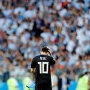 Argentina's Lionel Messi walks on the pith at the end of the group D match between Argentina and Iceland at the 2018 soccer World Cup in the Spartak Stadium in Moscow, Russia, Saturday, June 16, 2018. The match finished 1-1. (AP Photo/Antonio Calanni)