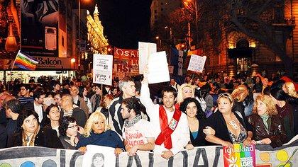 Marcha a favor del matrimonio igualitario (Télam)