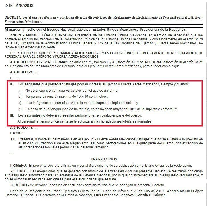 El Ejército y la Fuerza Aérea Mexicanos aceptó a las personas con tatuaje, pero puso condiciones (Foto: Diario Oficial de la Federación)