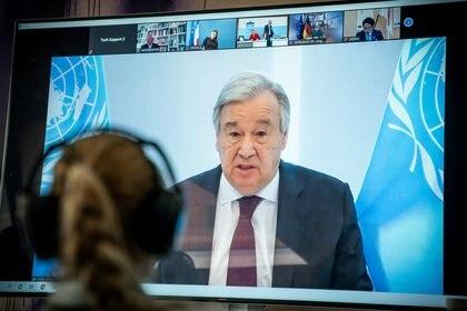 Guterres participó de la conferencia virtual de la MNOAL (REUTERS)