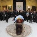 El velatorio de Kirchner en el Salón de los Patriotas Latinoamericanos de Casa Rosada ((Presidencia) Foto NA: Presidencia