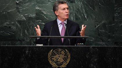 Mauricio Macri durante su discurso en la ONU, en 2016 (AFP)