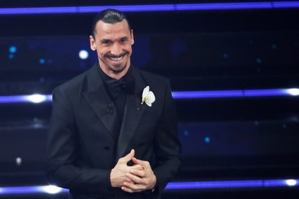 AC Milan player Zlatan Ibrahimovic attends the 71st Sanremo festival, which is live-streamed without public participation due to the coronavirus disease (COVID-19) restrictions, at the Ariston Theatre, in Sanremo, Italy March 3, 2021. REUTERS/Alessandro Garofalo