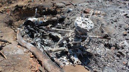 Los restos del helicóptero de la Sedena derribado por el CJNG (Fotos: Cuartoscuro)