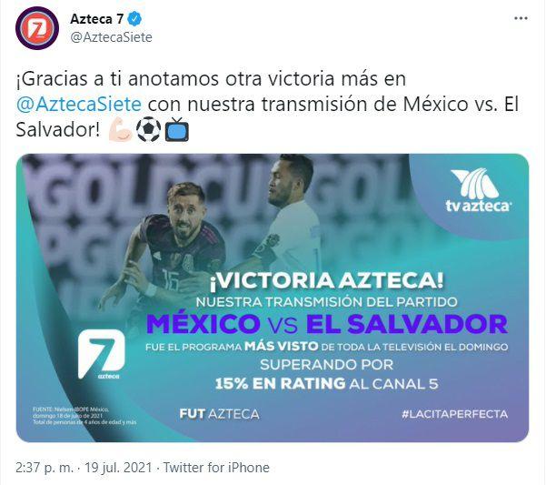 rating México vs salvador tv azteca