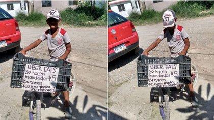 Iker, de 9 años de edad, realiza mandados en su bicicleta por 5 pesos (Foto: Facebook Leslie de los Reyes)