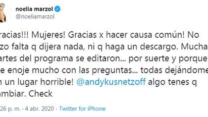 Los furiosos tuit de Noelia Marzol