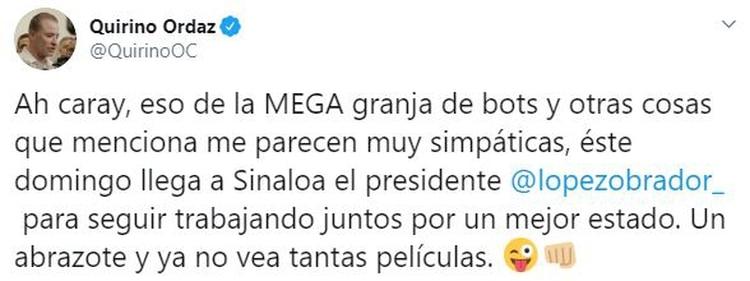 El gobernador de Sinaloa confirmó la visita del presidente López Obrador a la entidad (Foto: QuirinoOC)