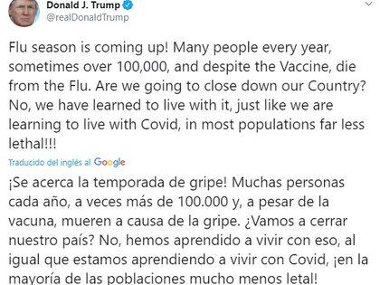 El mensaje de Donald Trump