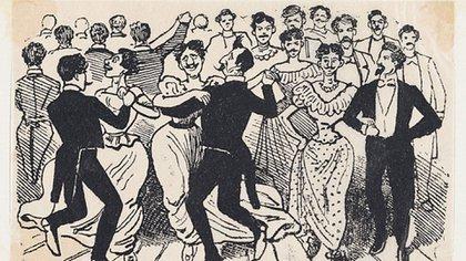 """La ironía de los grabados de la época sobre """"El baile de los 41""""."""