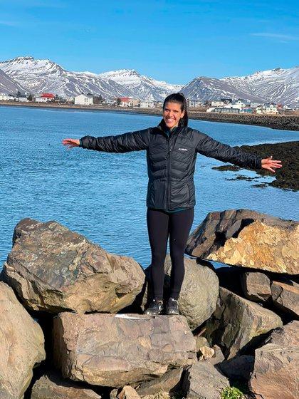 La futbolista ya pudo recorrer algunas de las múltiples bellezas naturales de Islandia