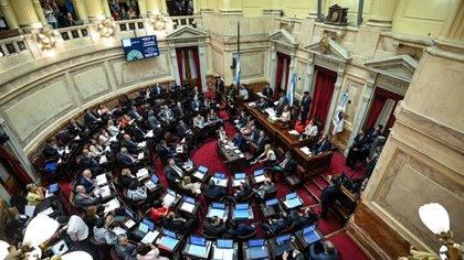 La sesion extraordinaria en el Senado de la Nacion donde se debatió el proyecto de la restauracion de la sostenibilidad de la deuda publica externa, en el Congreso de la Nación,