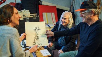 """Del Guercio muestra el dibujo que le regaló """"El Flaco"""" (National Geographic)"""