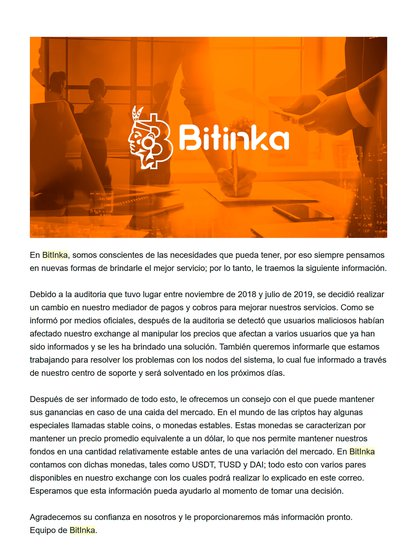 Mail enviado por Bitinka a sus usuarios donde habla de operaciones fraudulentas dentro de la plataforma