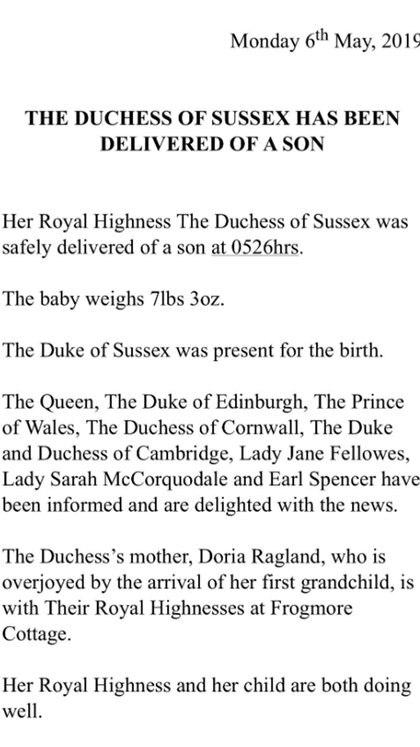 El comunicado sobre el nacimiento del bebé de Meghan Markle y el príncipe Harry