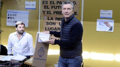 El presidente Mauricio Macrien una de las últimas elecciones (foto DyN)