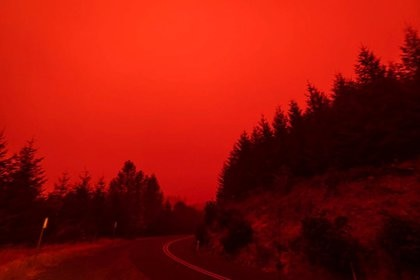 Así estuvo el cielo rojo y el humo espeso el miércoles en Salem City, Oregon (ZAK STONE/via REUTERS)