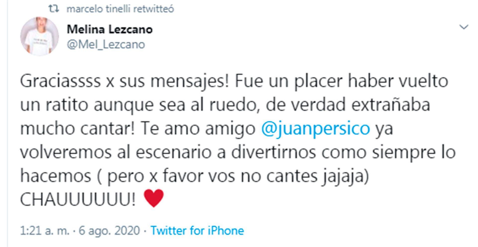 Mensaje de Melina Lescano