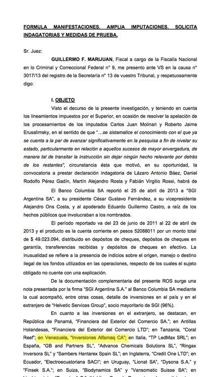 La explicación de la financiera SGI en 2013 al Banco Columbia para justificar el origen de los fondos: entre las inversiones de Helvetic -su firma controlante- mencionaba a Alfamaq de los Ceballos en Venezuela.